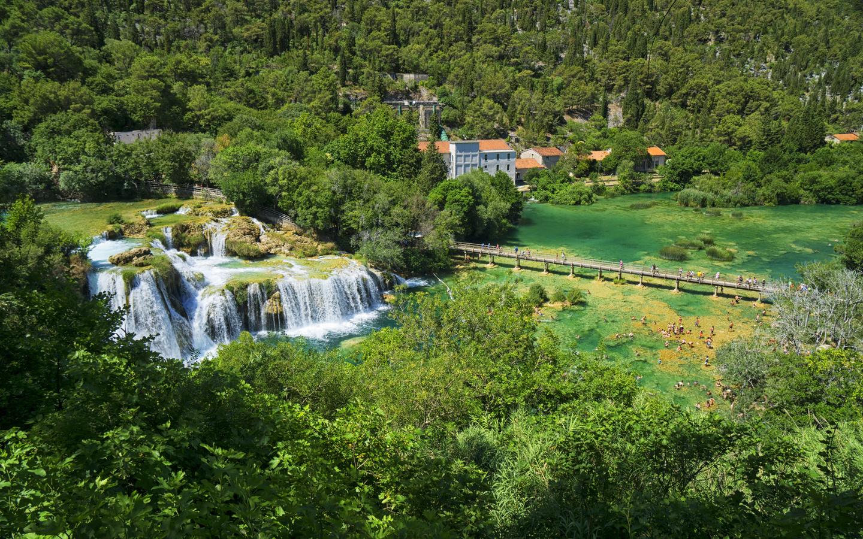 хорватия, водопады, лес, озеро, мост, krka, national park, природа