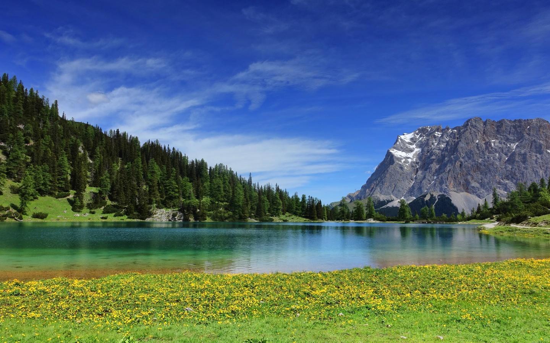 небо, горы, лес, озеро, пейзаж
