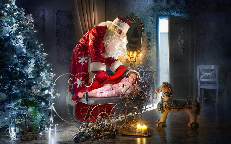 ночь, комната, праздник, игрушки, новый год, свечи, мишка, ёлка, ребёнок, лошадка, дед мороз, dmitry usanin