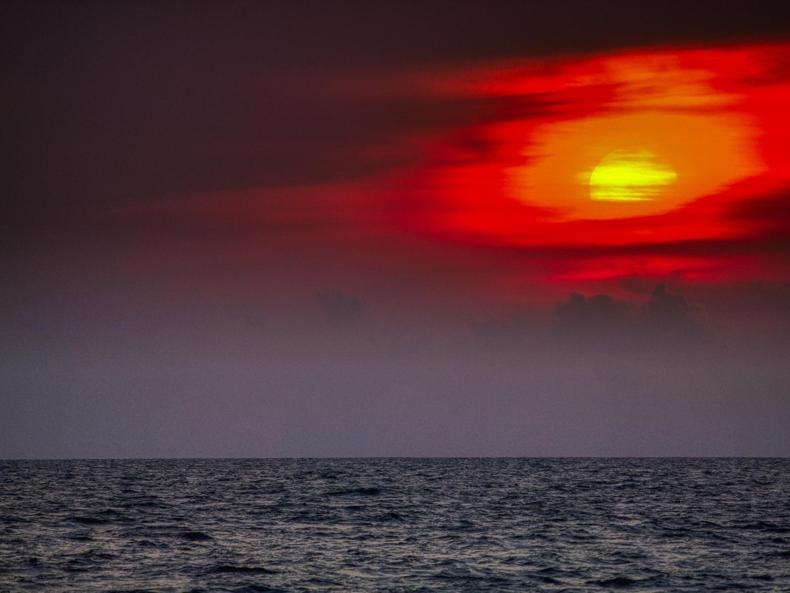 океан, небо, восход