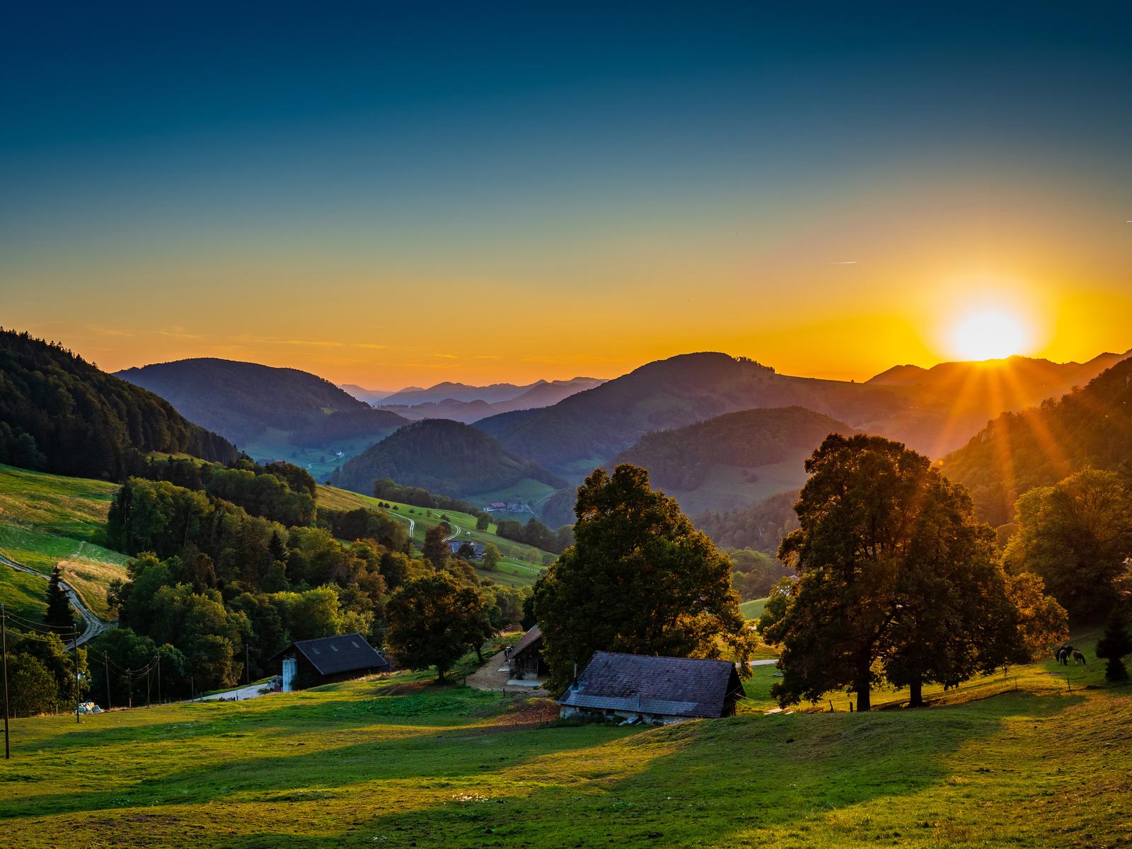германия, горы, домики, landscape belchen, солнце, деревья, природа