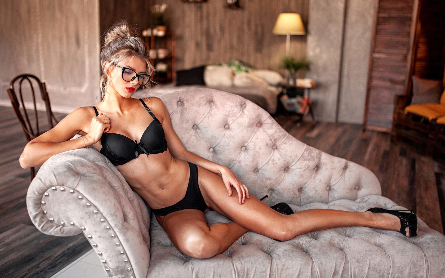 women, blonde, brunette, red lipstick, high heels, black lingerie, sitting, belly, women with glasses, lamp, chair, алексей юрьев ,alexey yuryev