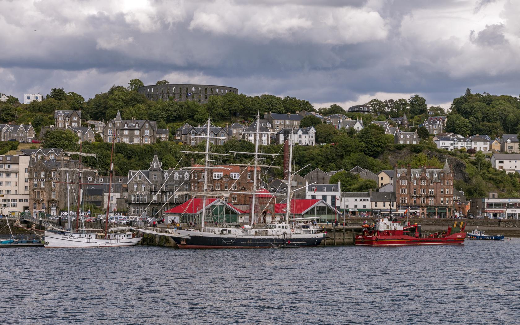корабли, парусные, причал, дома, шотландия, oban, залив, город