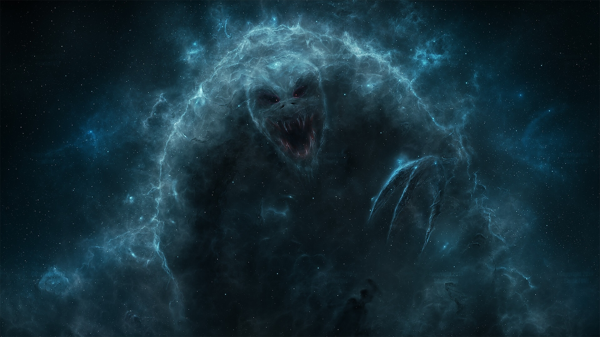 йети в космосе, туманность, существо