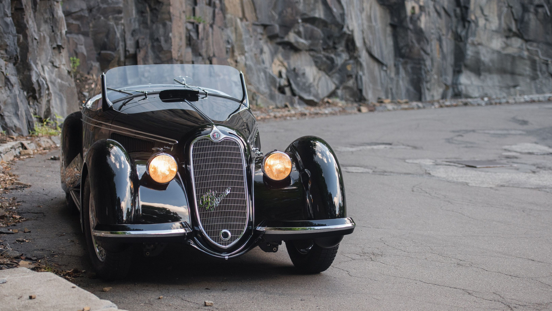 alfa romeo, 8c, 1937, black, convertible, retro