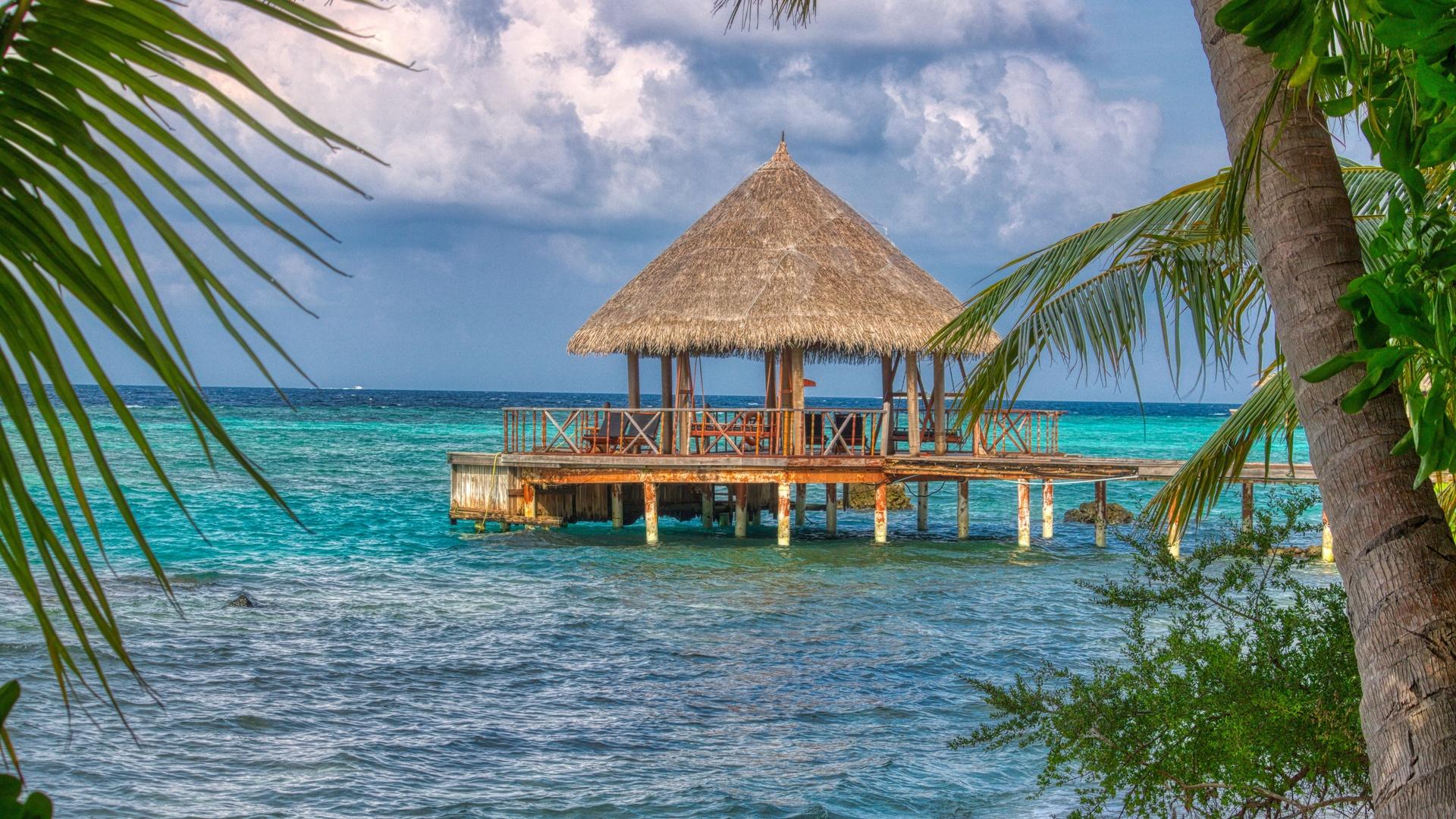 небо, океан, беседка, пальмы, тропики, отдых