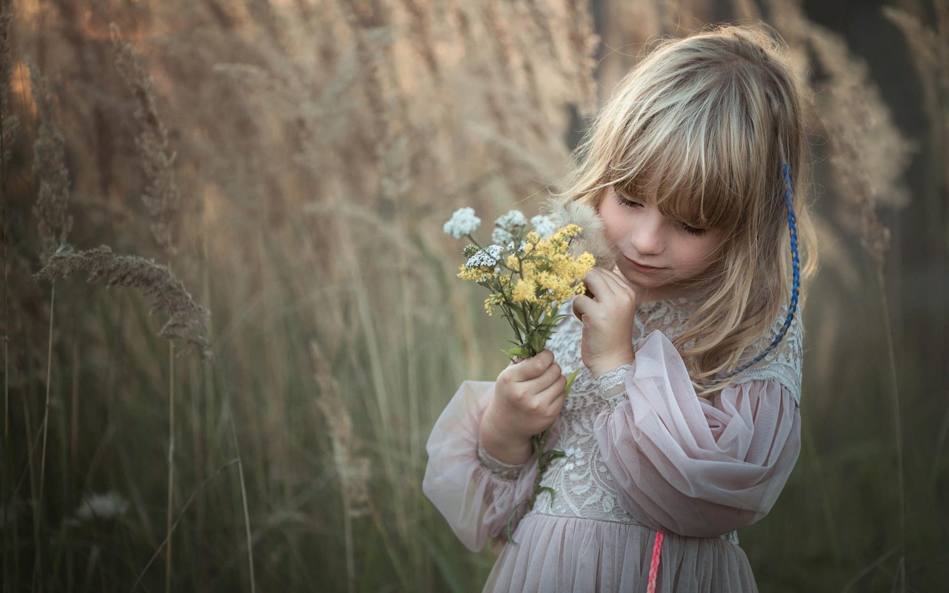 природа, платье, девочка, травы, ребёнок, букетик, marta obiegla