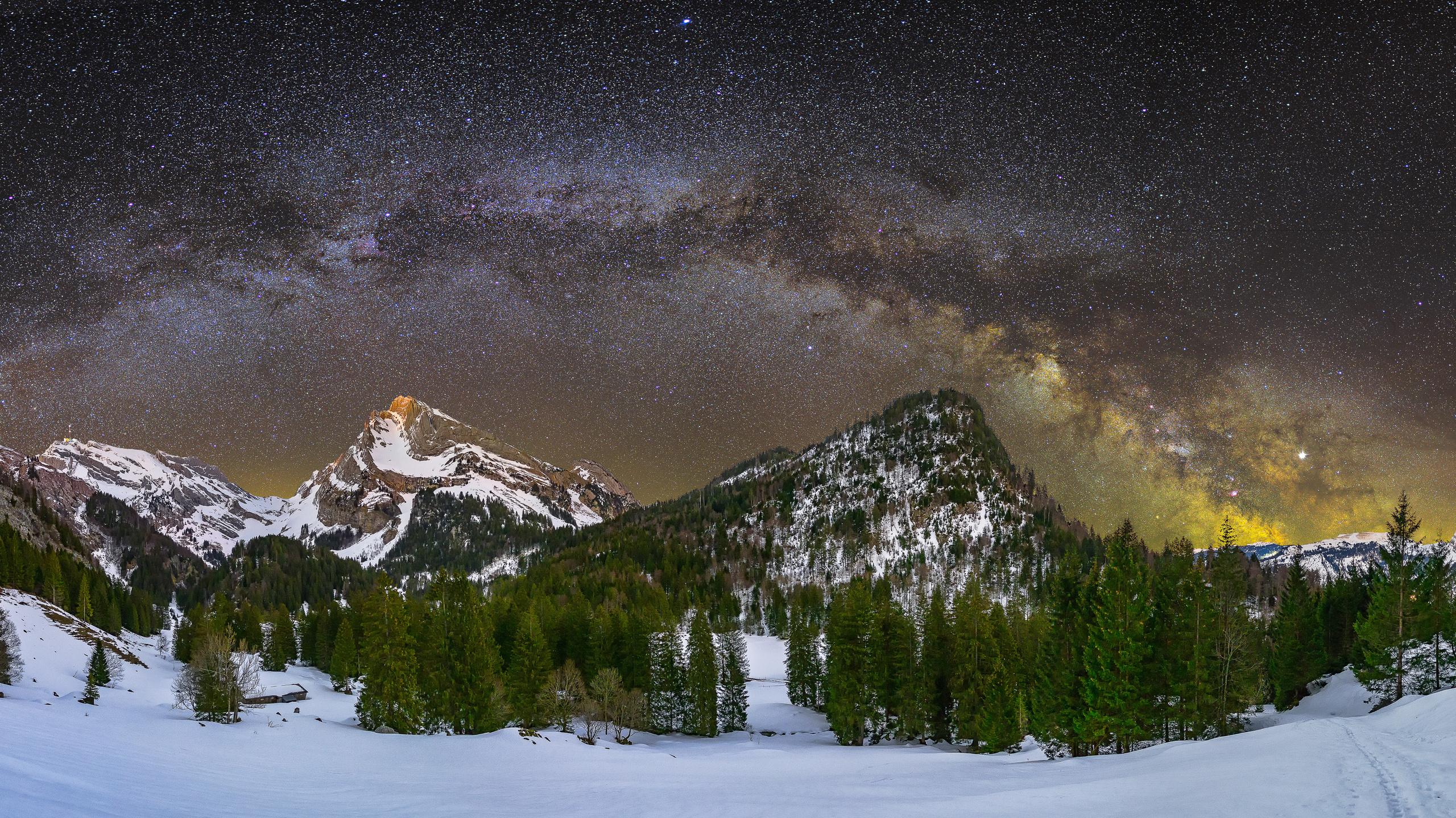 зима, небо, швейцария, ночь