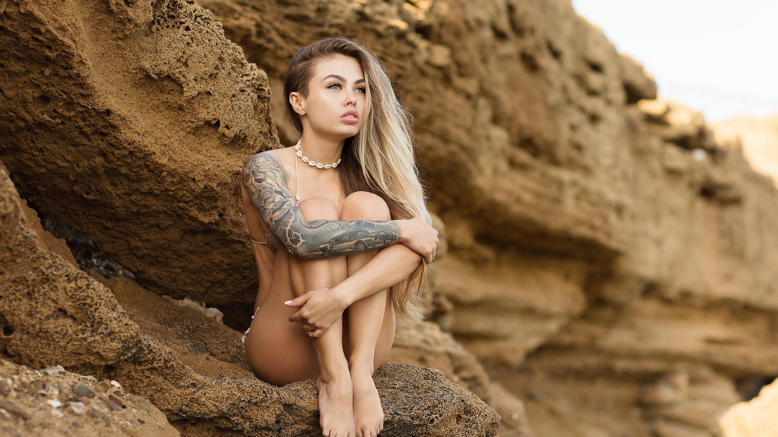 women, sitting, bikini, brunette, long hair, rocks, women outdoors, looking away, blonde