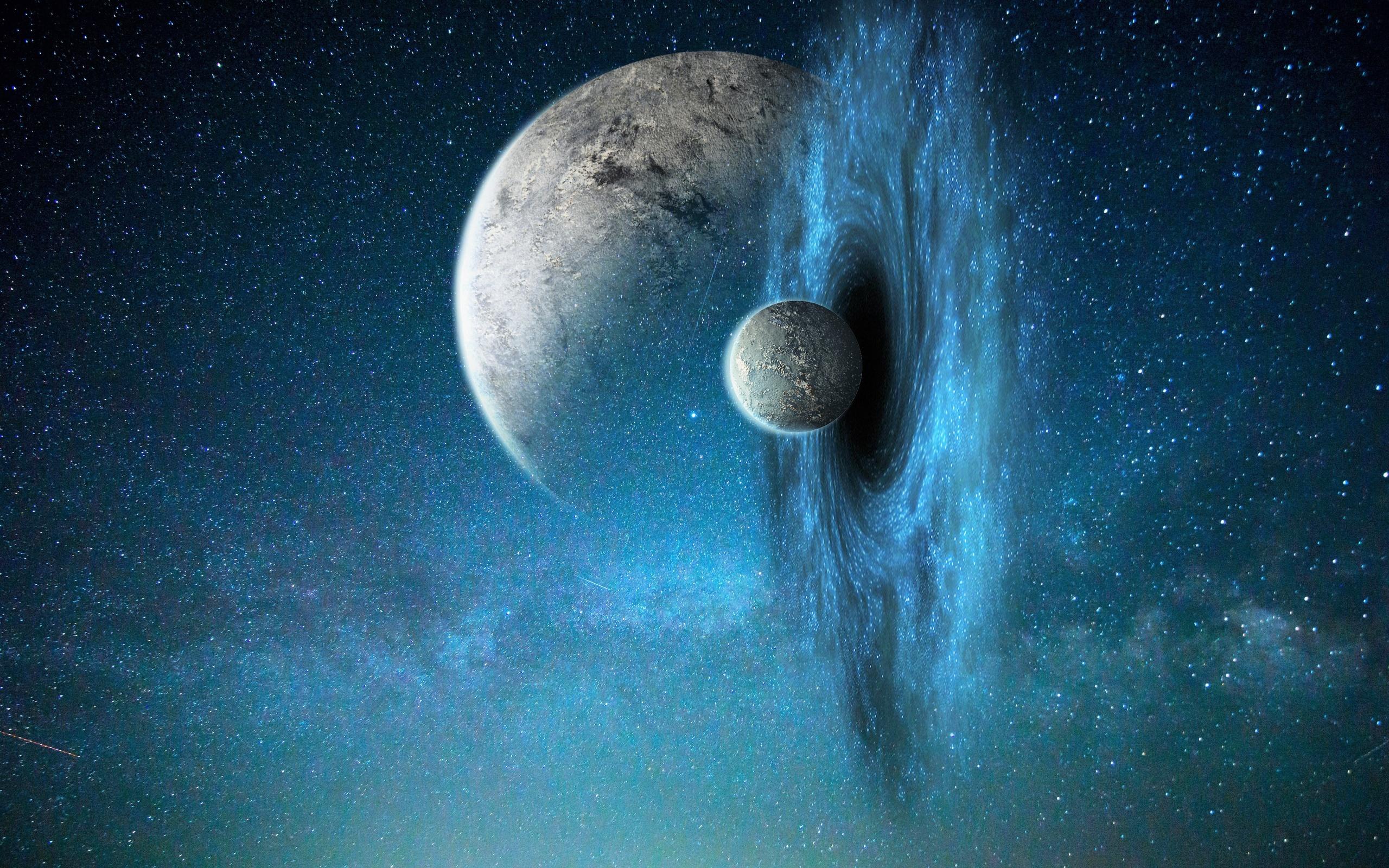 галактика, планета, спутник, червоточина