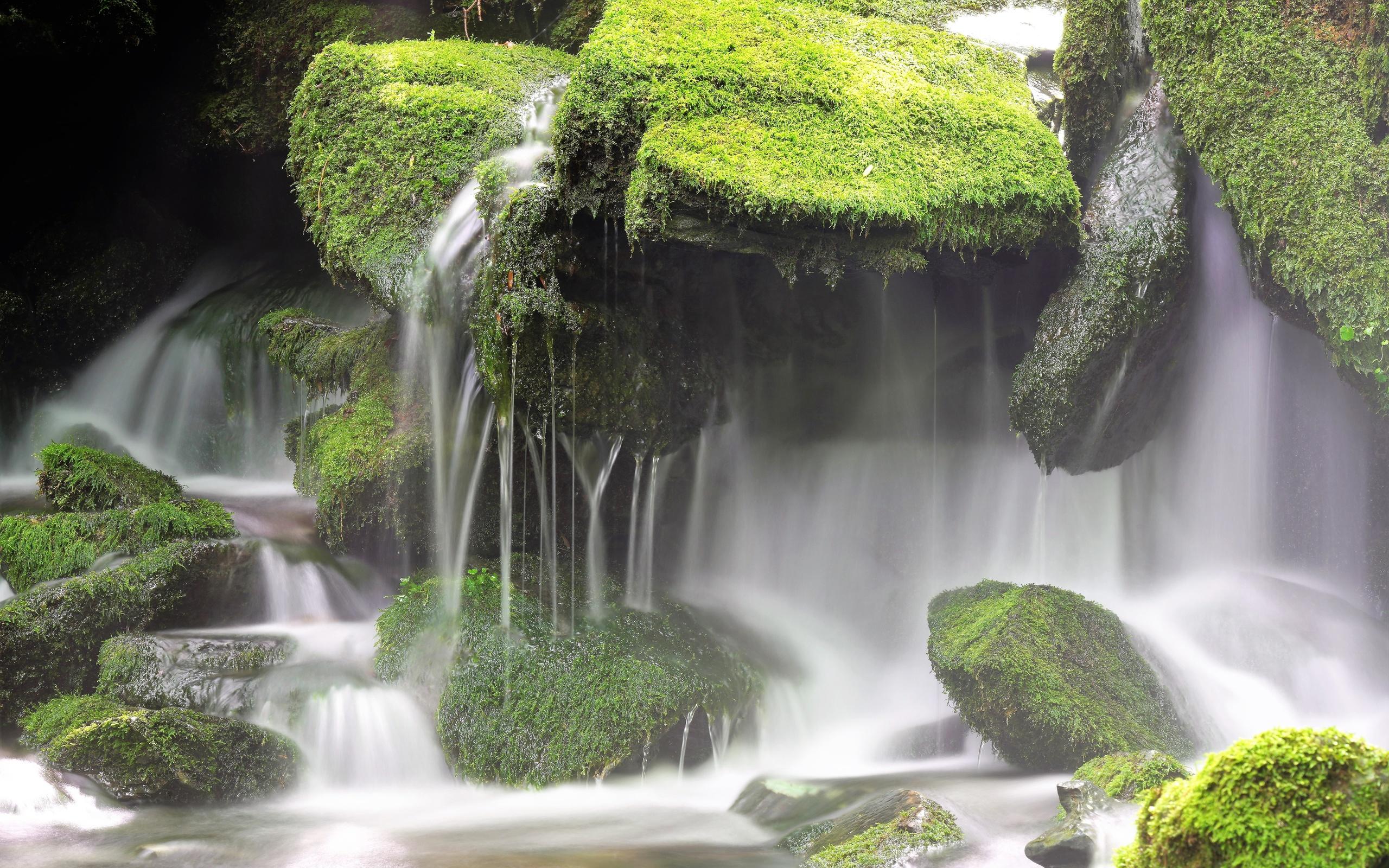 водопад, камни, мох