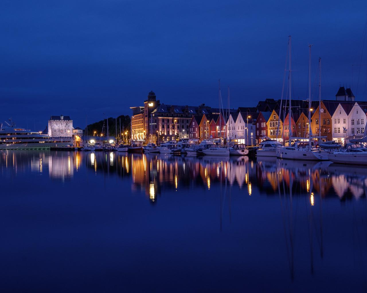 берген, норвегия, город, сумерки, панорама