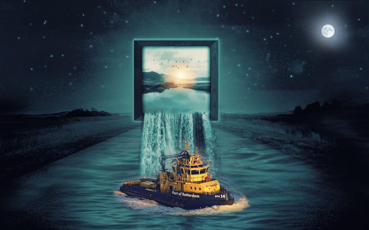 небо, звезды, поля, река, монитор, водопад, судно, фотоманипуляция