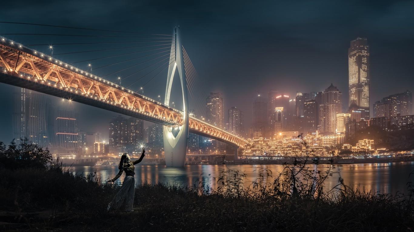 ночь, город, мост, иллюминация, девушка, небоскребы