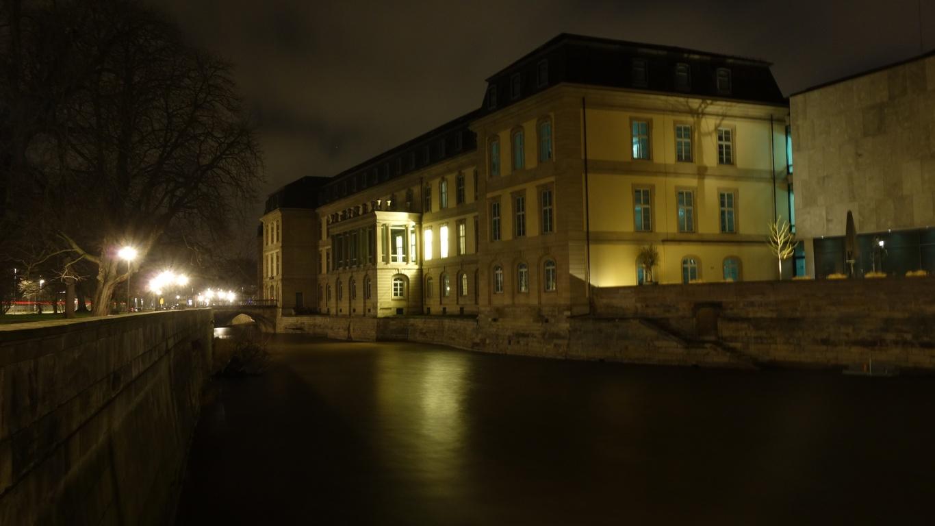 ганновер, германия, город, ночь