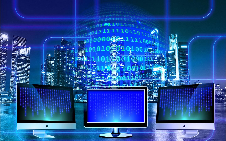 мониторы, город, ночь, цифровой мир, композиция