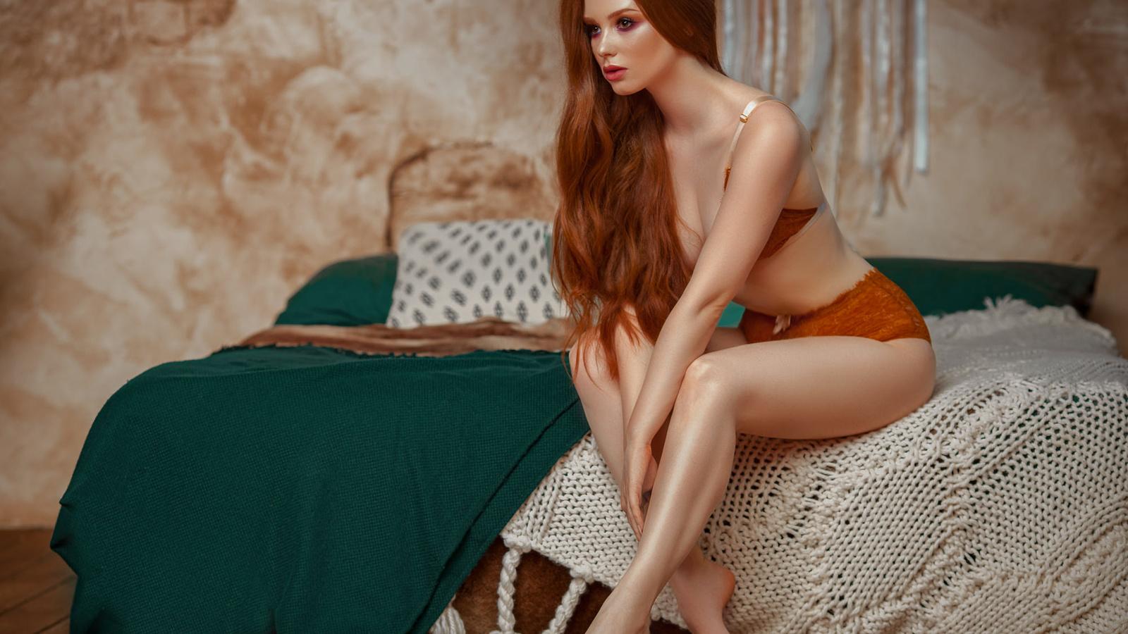 women, long hair, bed, sitting, pillow, wall, lingerie, looking away, make up, wooden floor