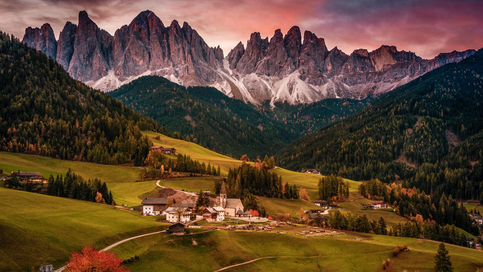 италия, горы, луг, пейзаж, santa maddalena, деревня, природа