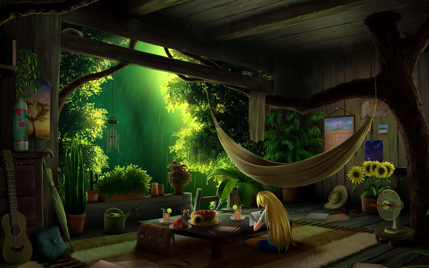 интерьер.домик на дереве, деревья, лес.дождь
