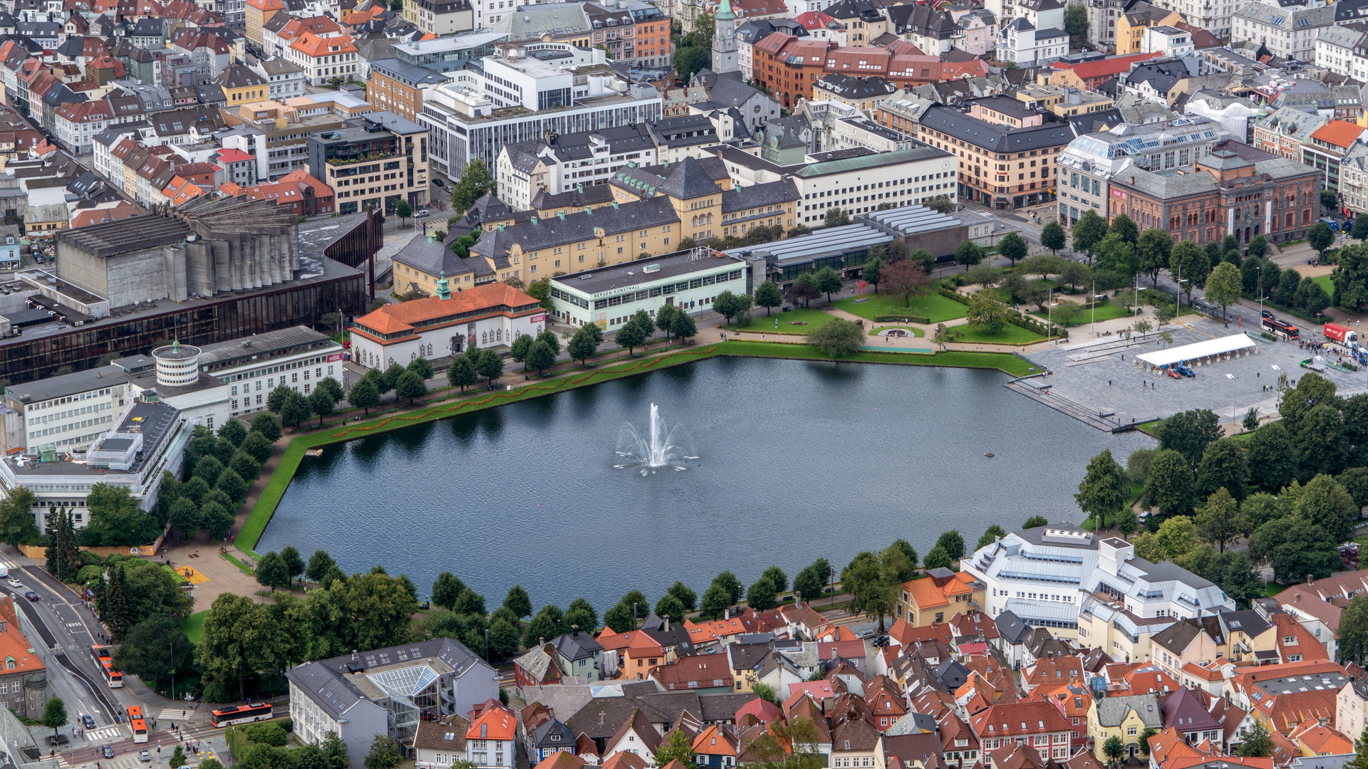берген, норвегия, город, панорама