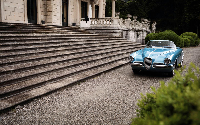 alfa romeo, 1900 c, super sprint, 1955, front view, blue