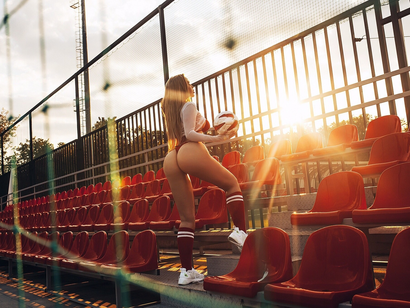 women, ass, blonde, sportswear, red stockings, sneakers, sunset, women outdoors, ball, red bikini, long hair, tattoo