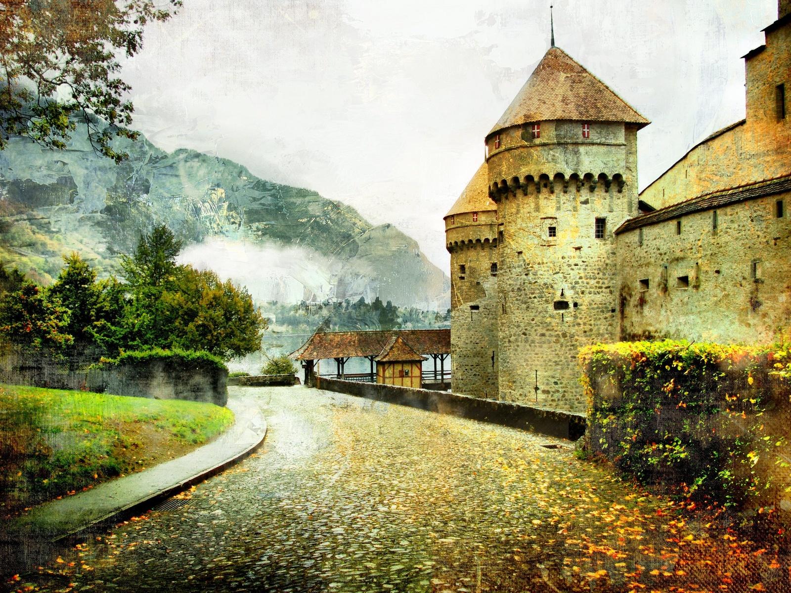 art, artwork, autumn, castle, beautiful