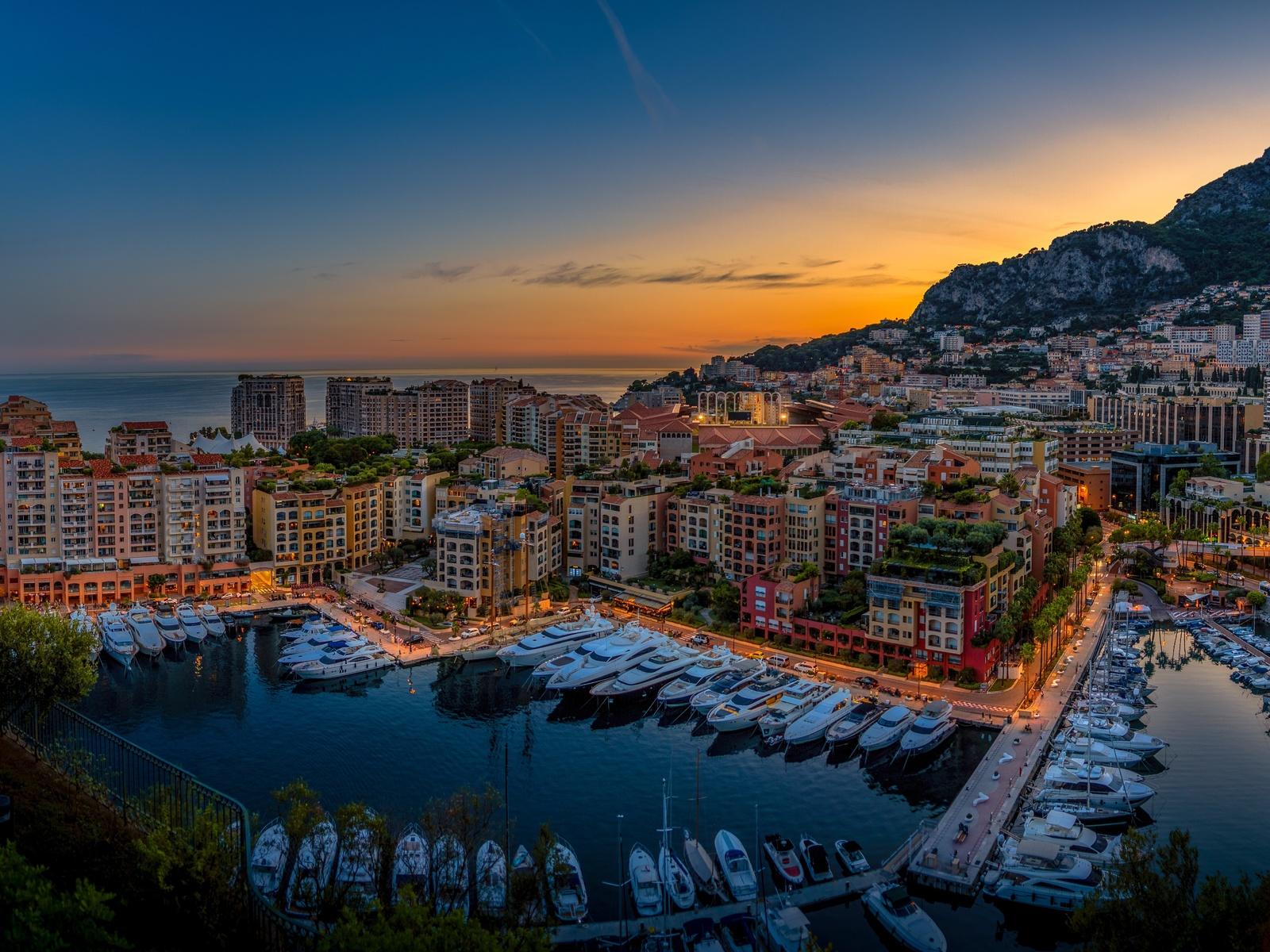 вечер, дома, Яхта, монако, fontvieille, город