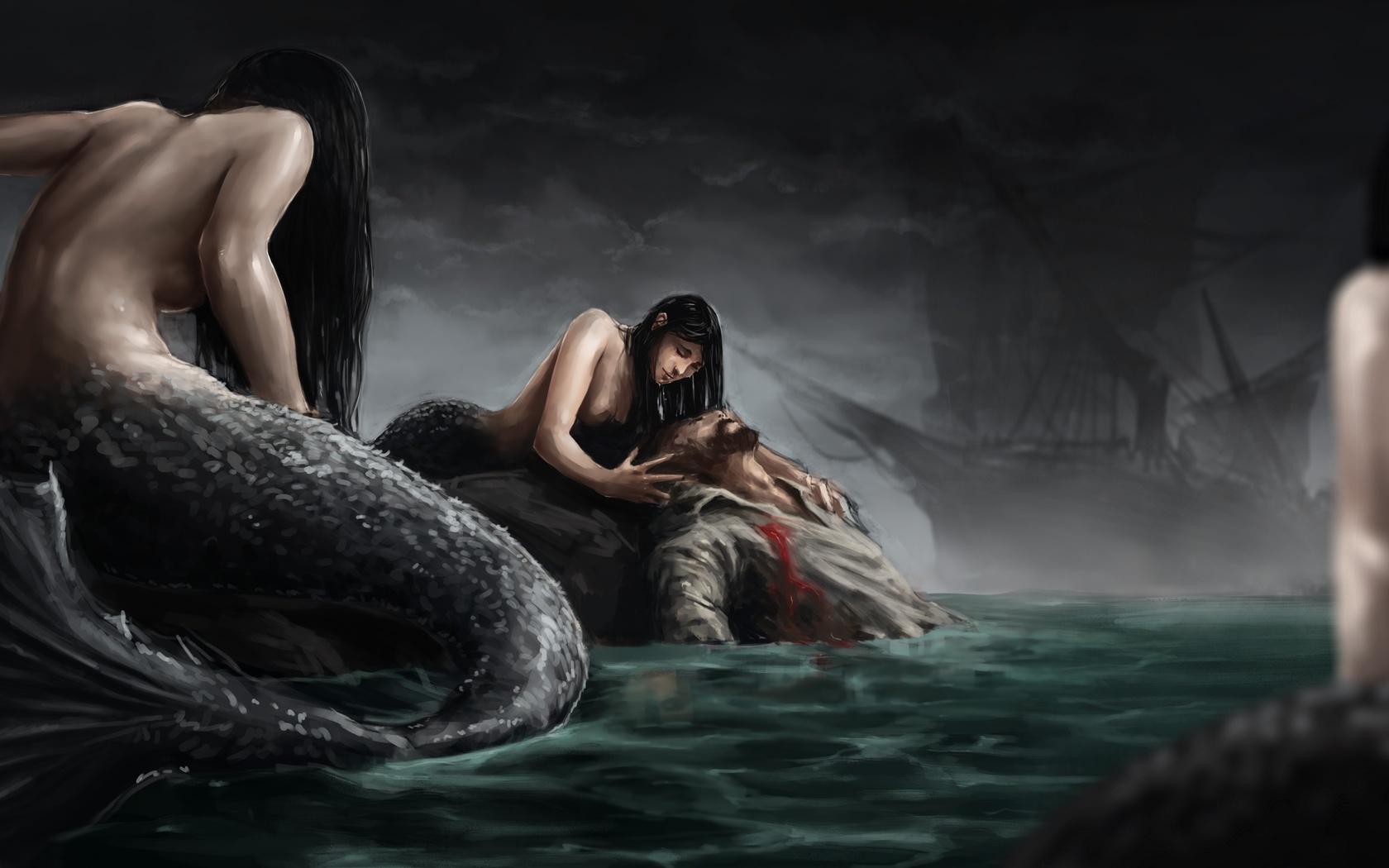 русалки, море, корабль, капитан, рана, sirens, моряк, сирены, кровь, хвост, sea, ship, captain, mermaid, wound, sailor