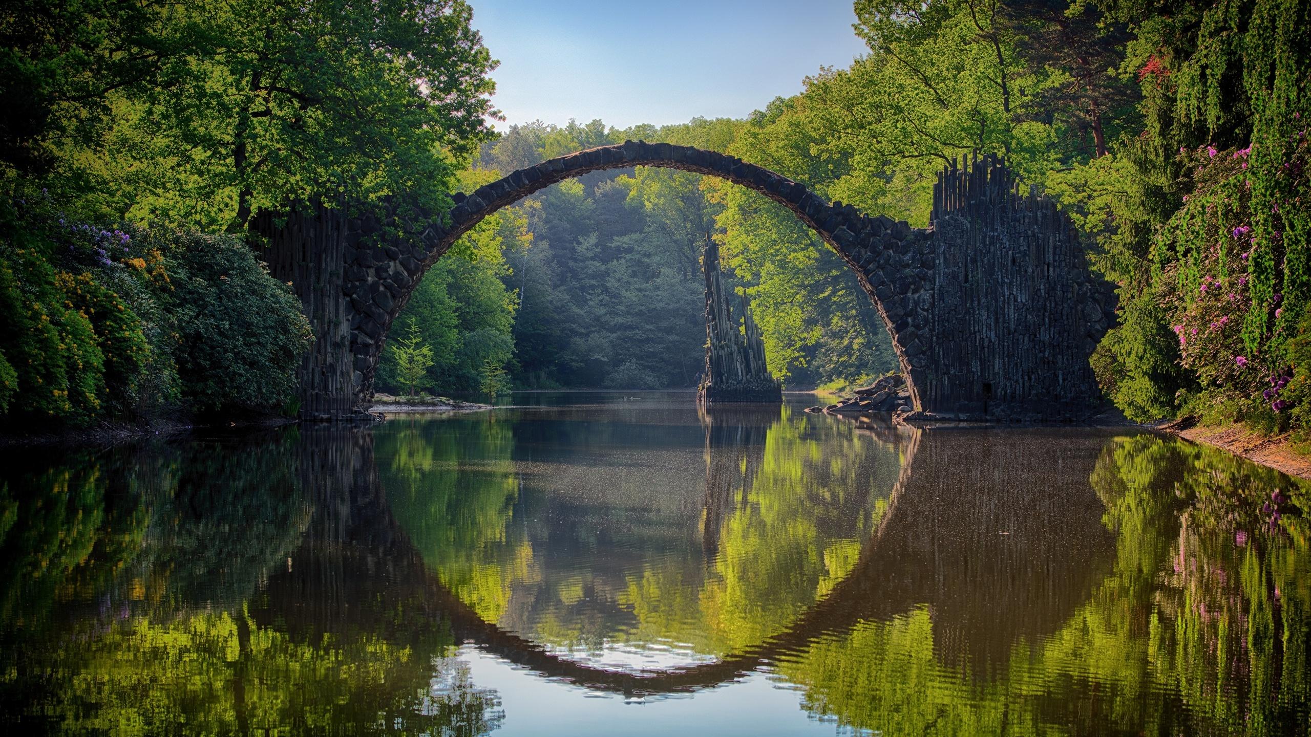 германия, парк, bridge rocketspace, park kromelow, природа