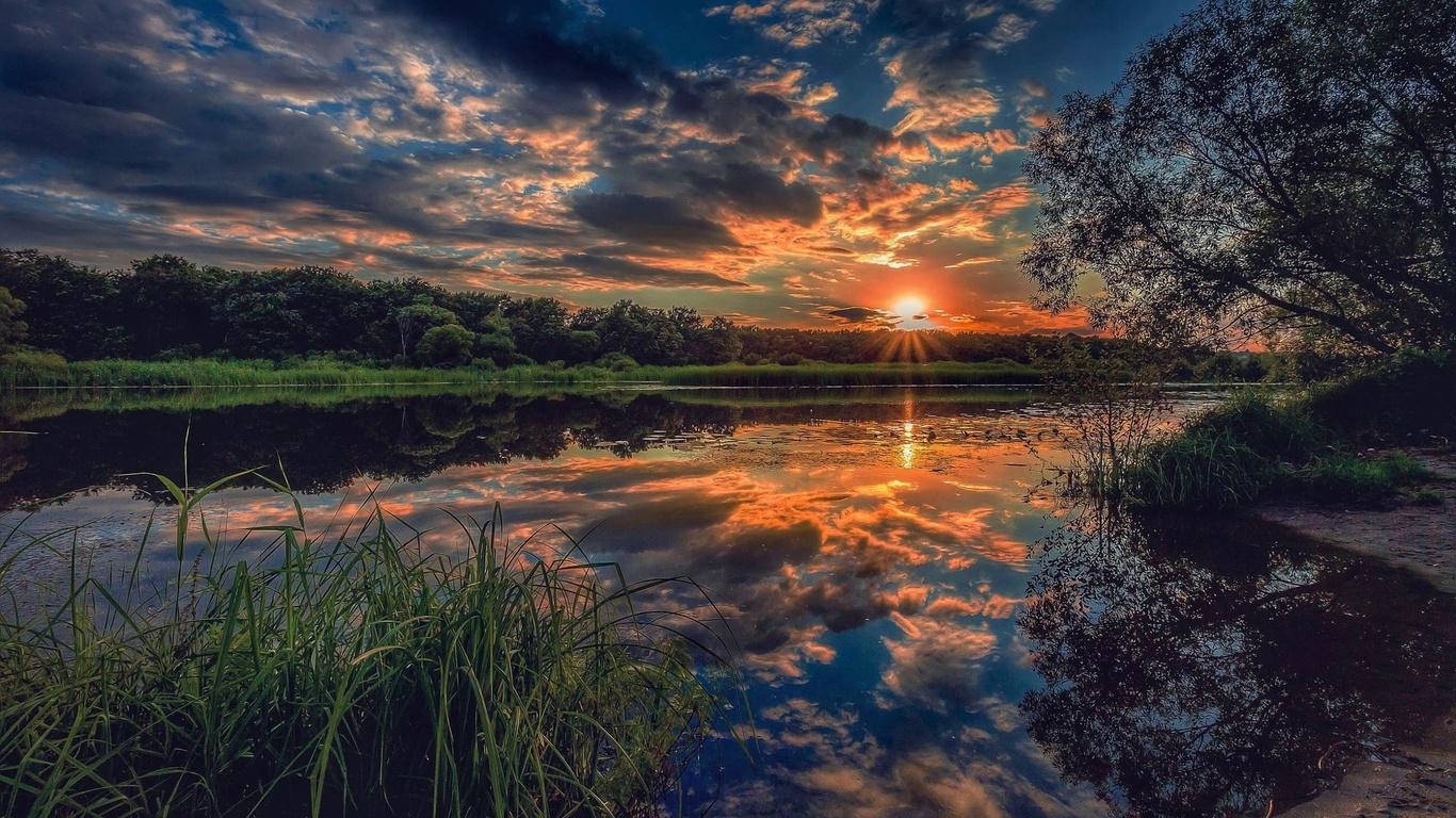 закат, небо, река, лето