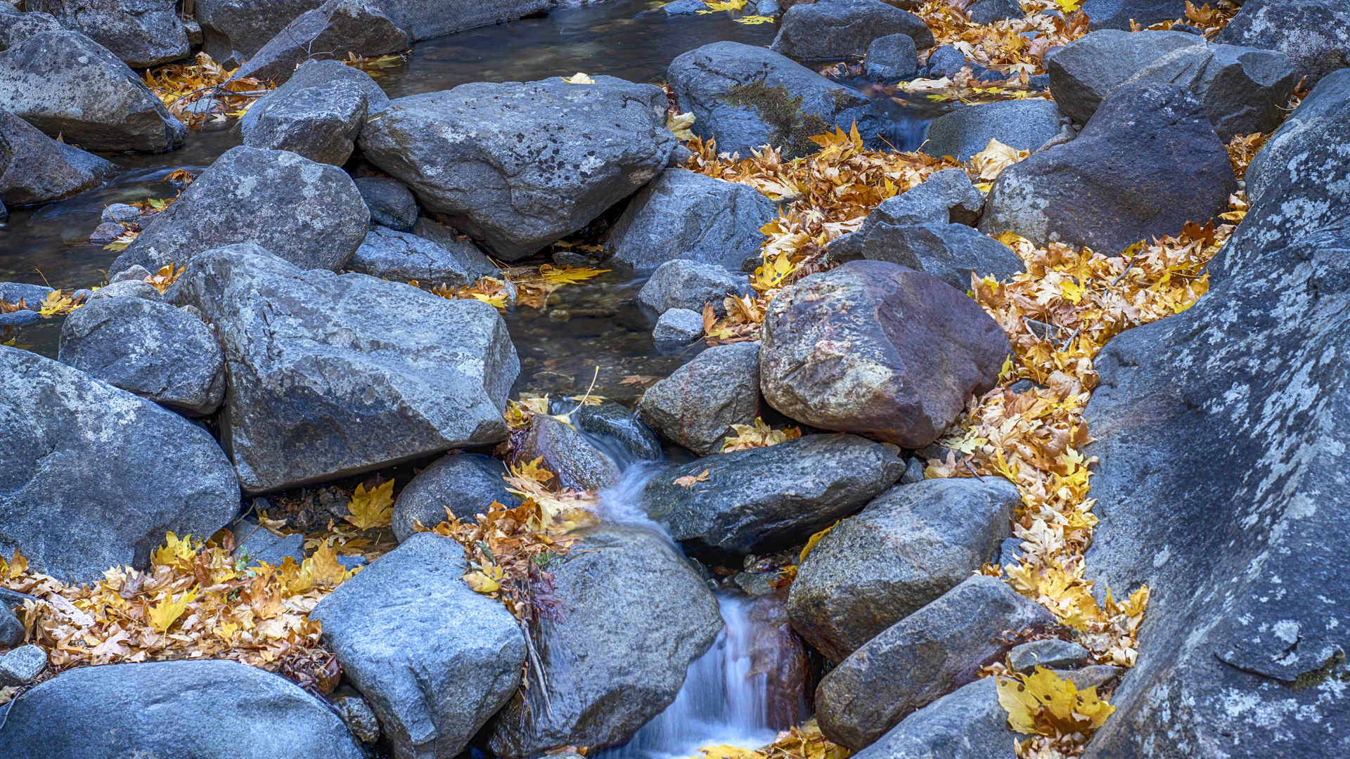 yosemite, national park, fall, rocks, stream