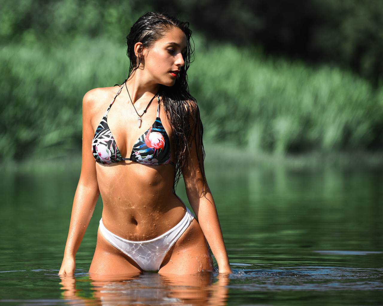women, red lipstick, belly, long hair, swimwear, bikini, river, brunette, women outdoors, wet body, wet hair