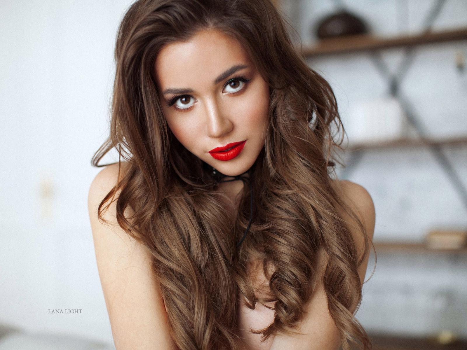 women, brunette, red lipstick, couch, portrait, boobs, long hair, brown eyes, women indoors