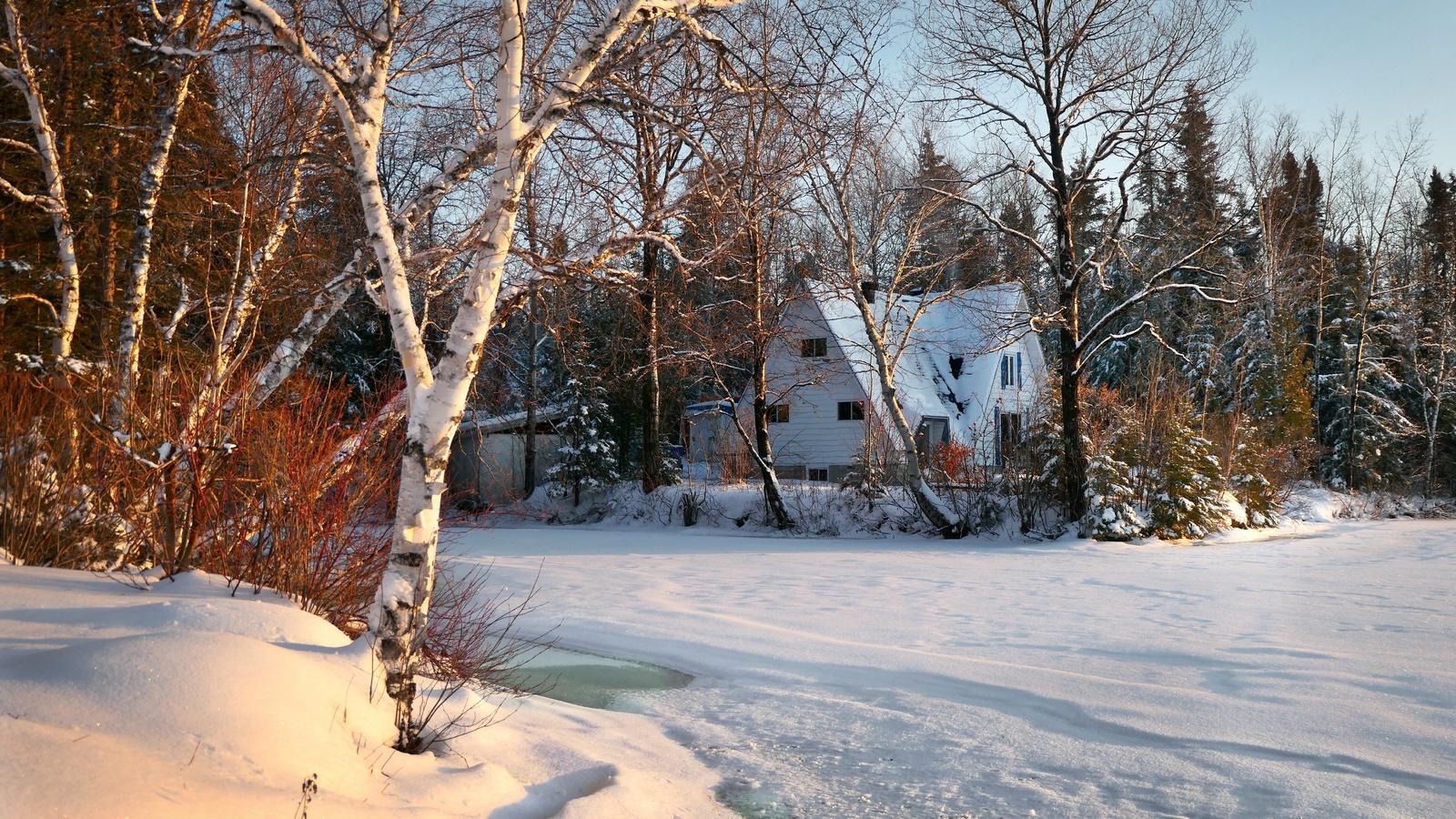 зима, лес, снег, деревья, пейзаж, природа, озеро, дом, коттедж, лёд, канада, берега, квебек