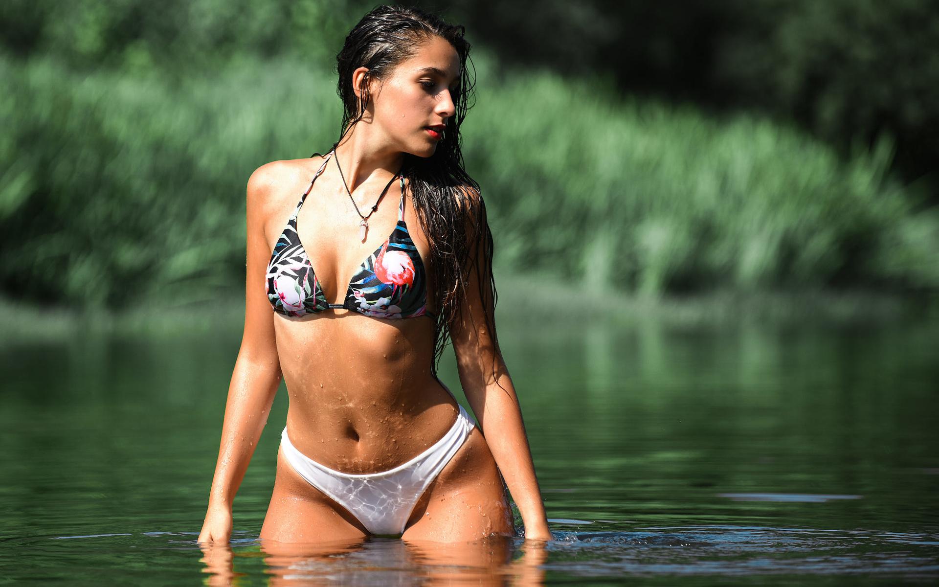women, red lipstick, belly, long hair, swimwear, bikini, river, brunette, women outdoors, wet body, wet hair