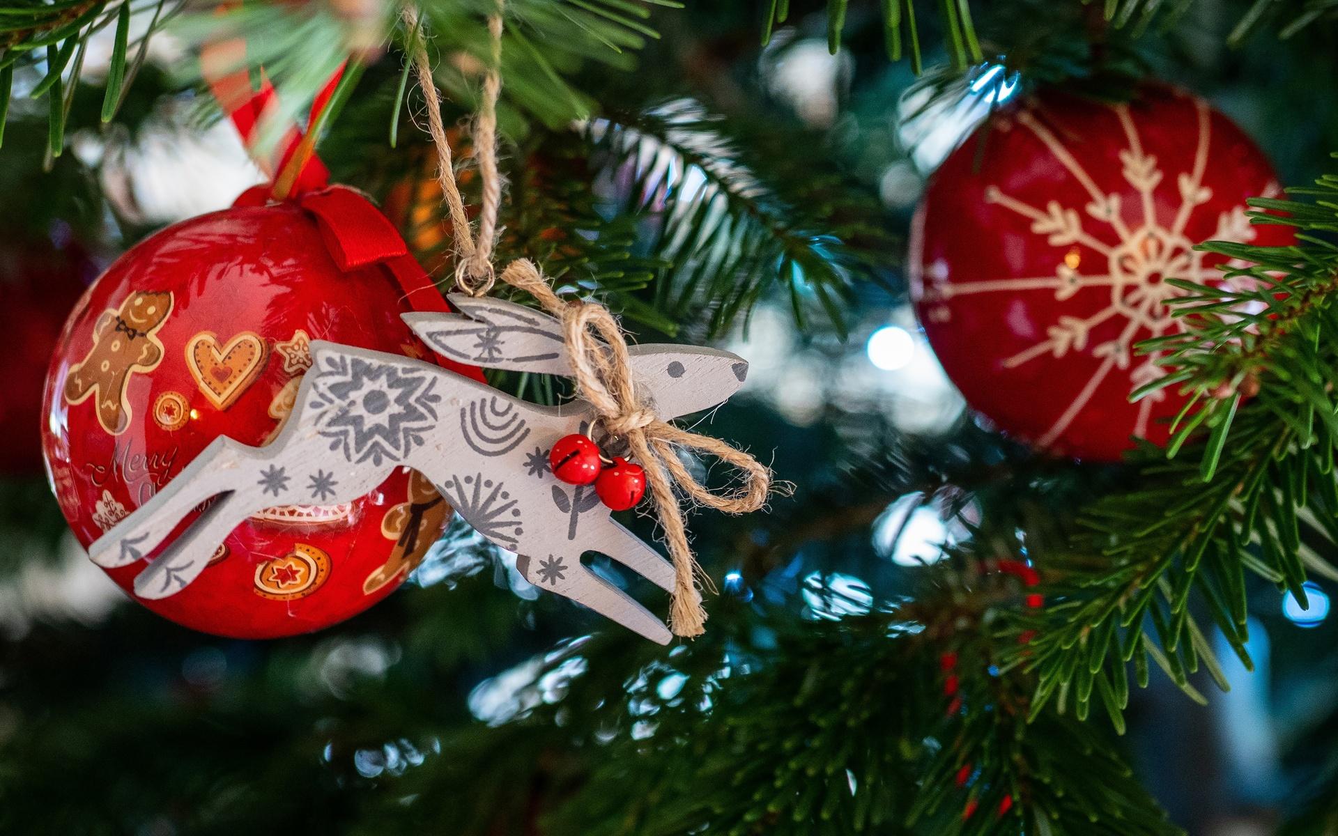 праздник, новый год, рождество, ёлка, ветки, ель, хвоя, игрушки