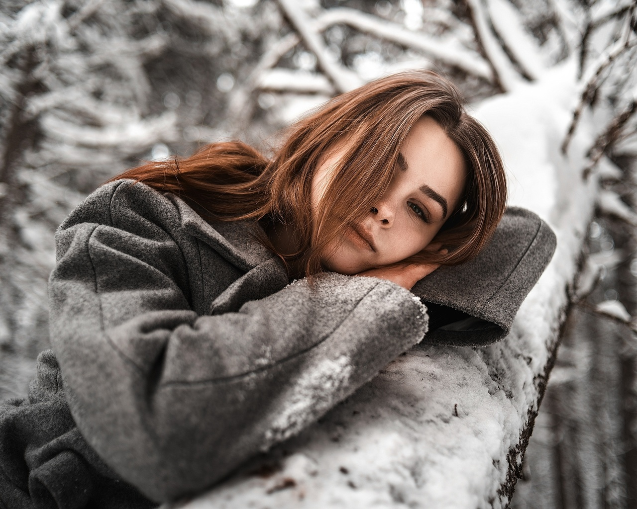women, portrait, hair in face, coats, trees, snow, winter, women outdoors