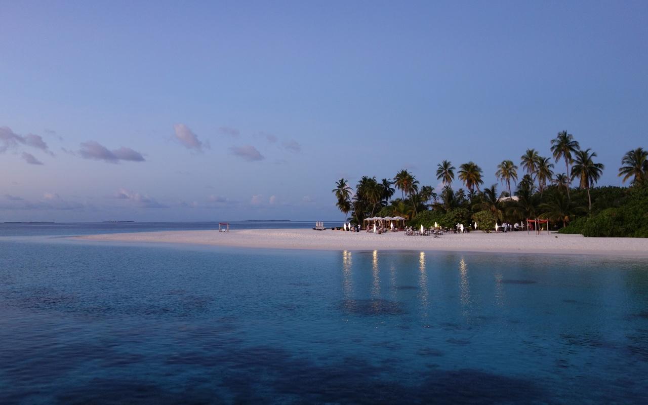 мальдивы, море, пляж, пальмы, сумерки