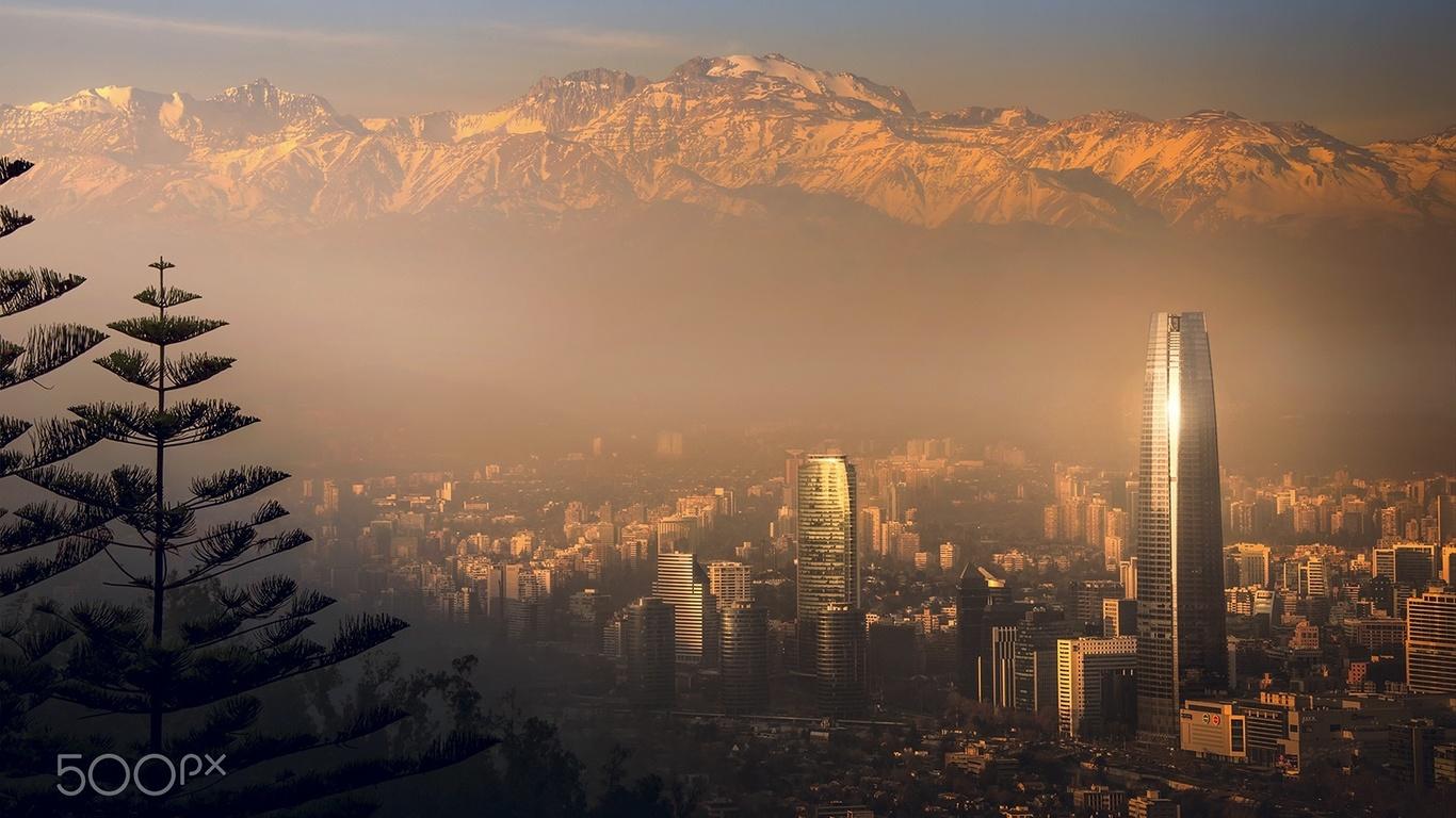 горы, туман, город, сантьяго, чили