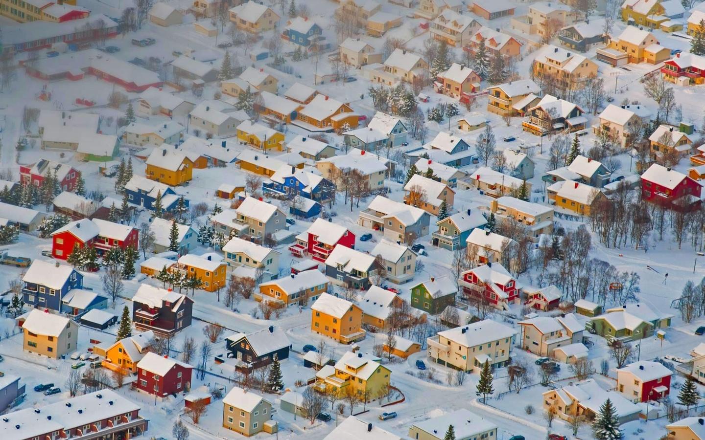 зима, панорама, снег, дома, норвегия