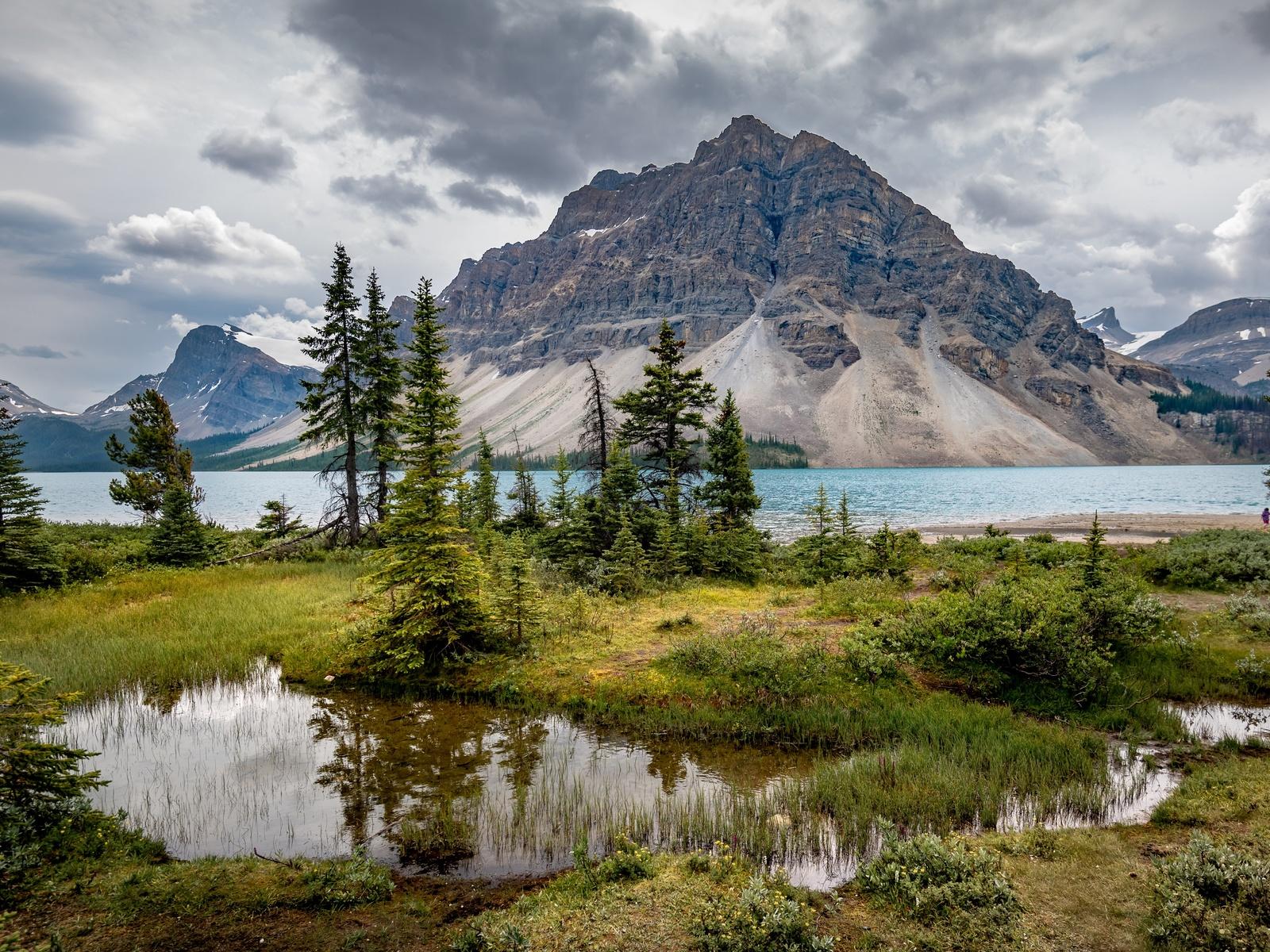 горы, озеро, канада, пейзаж, bow lake, alberta, деревья, облака, банф, природа