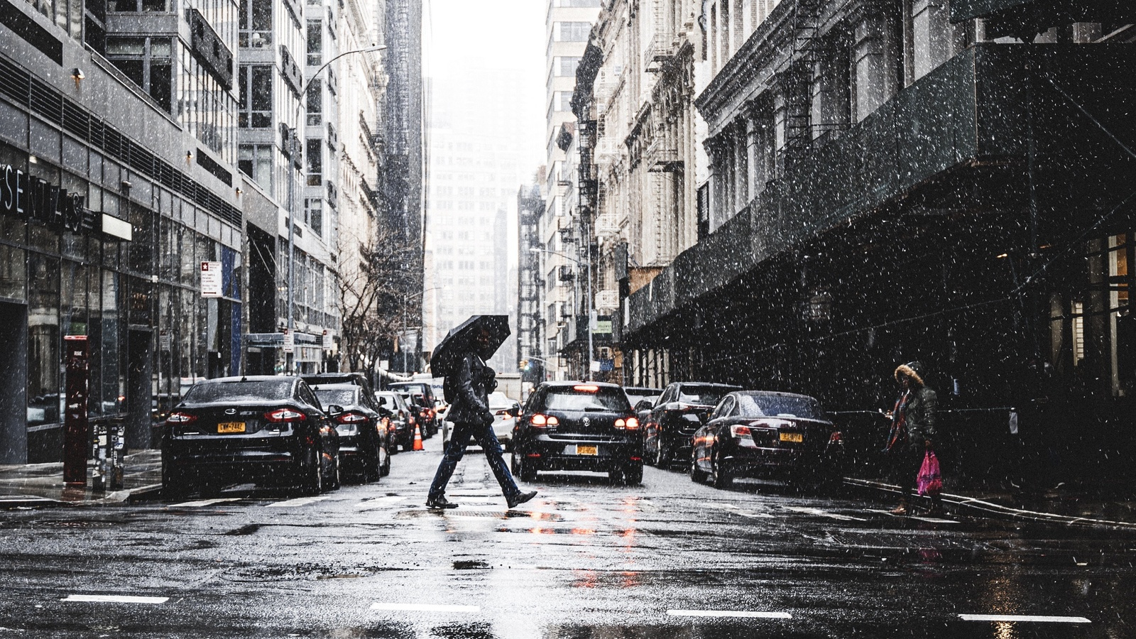 new york, morning, manhattan, winter, rain, buildings
