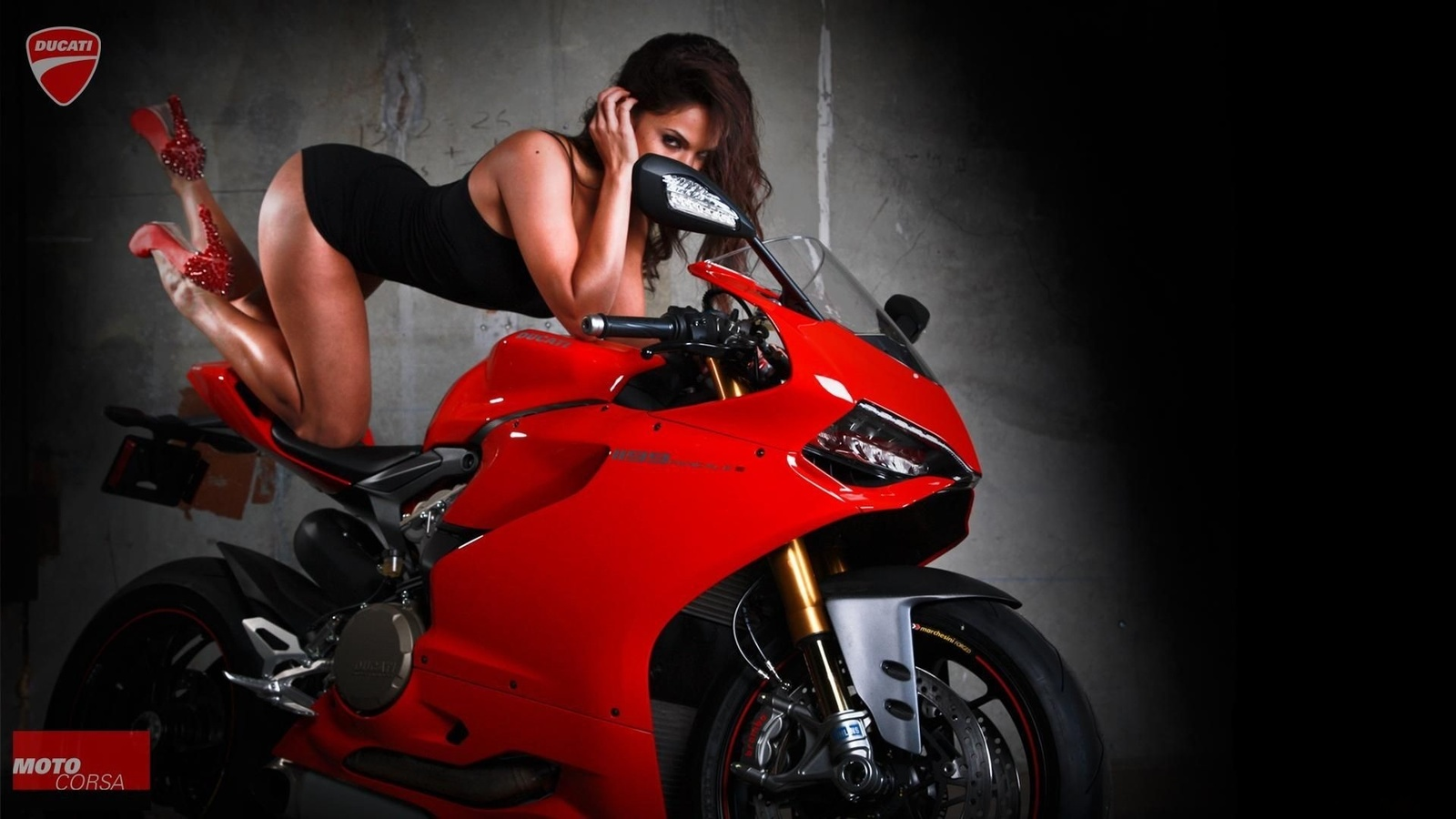 мотоцикл, красный, байк, девушка