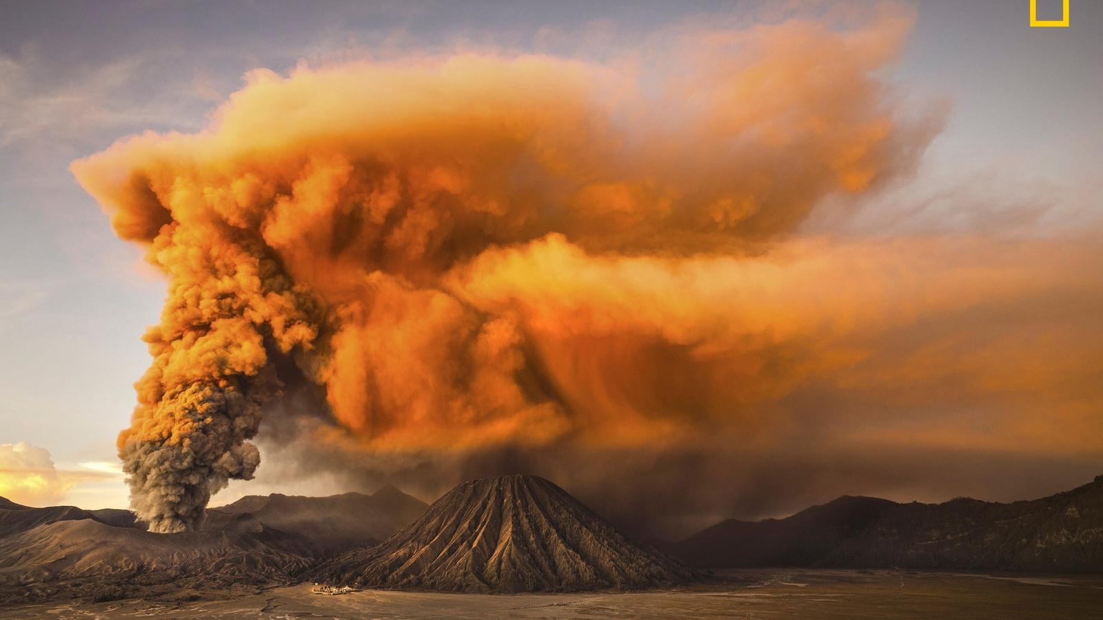вулканы, дым, извержение