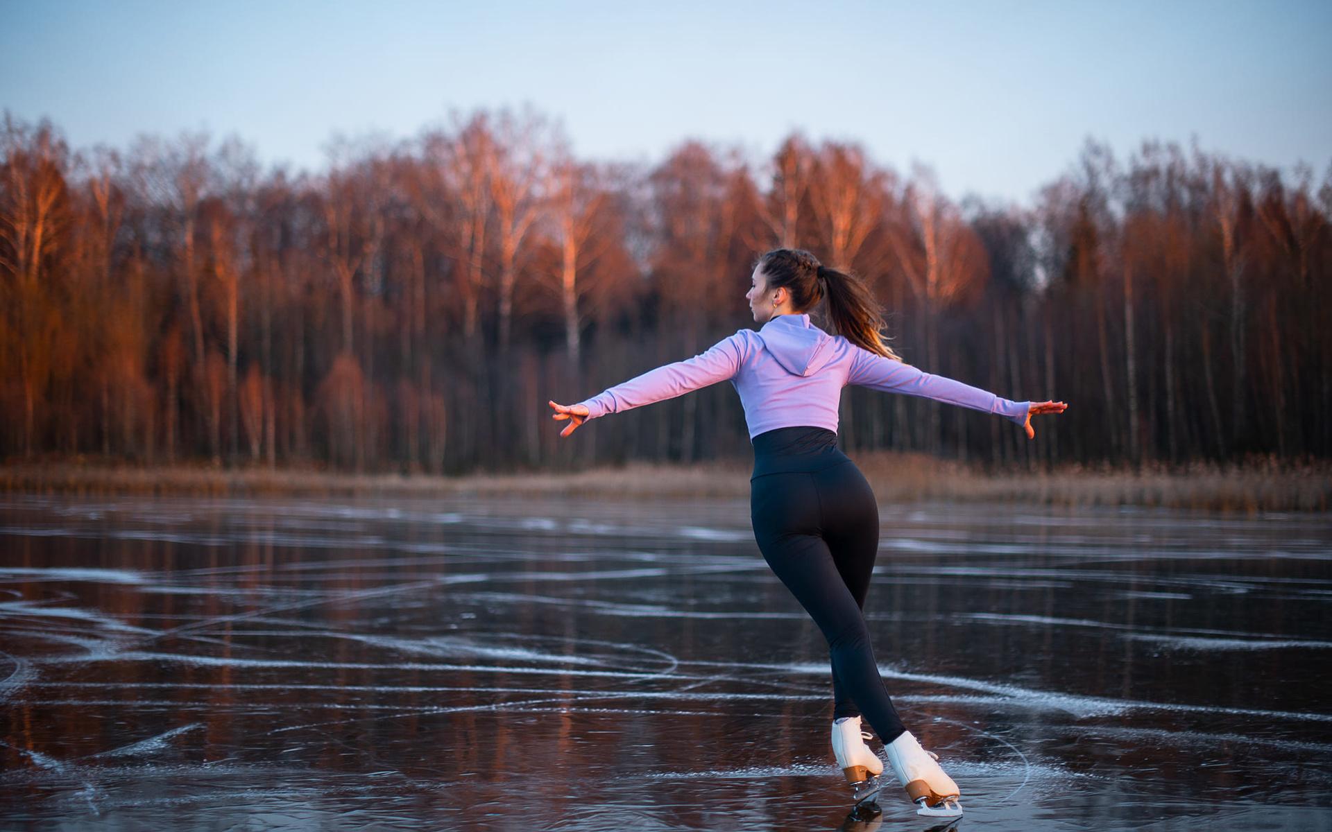 девушка, модель, спорт, фигурное катание, каток,лёд,вид,природа,красота