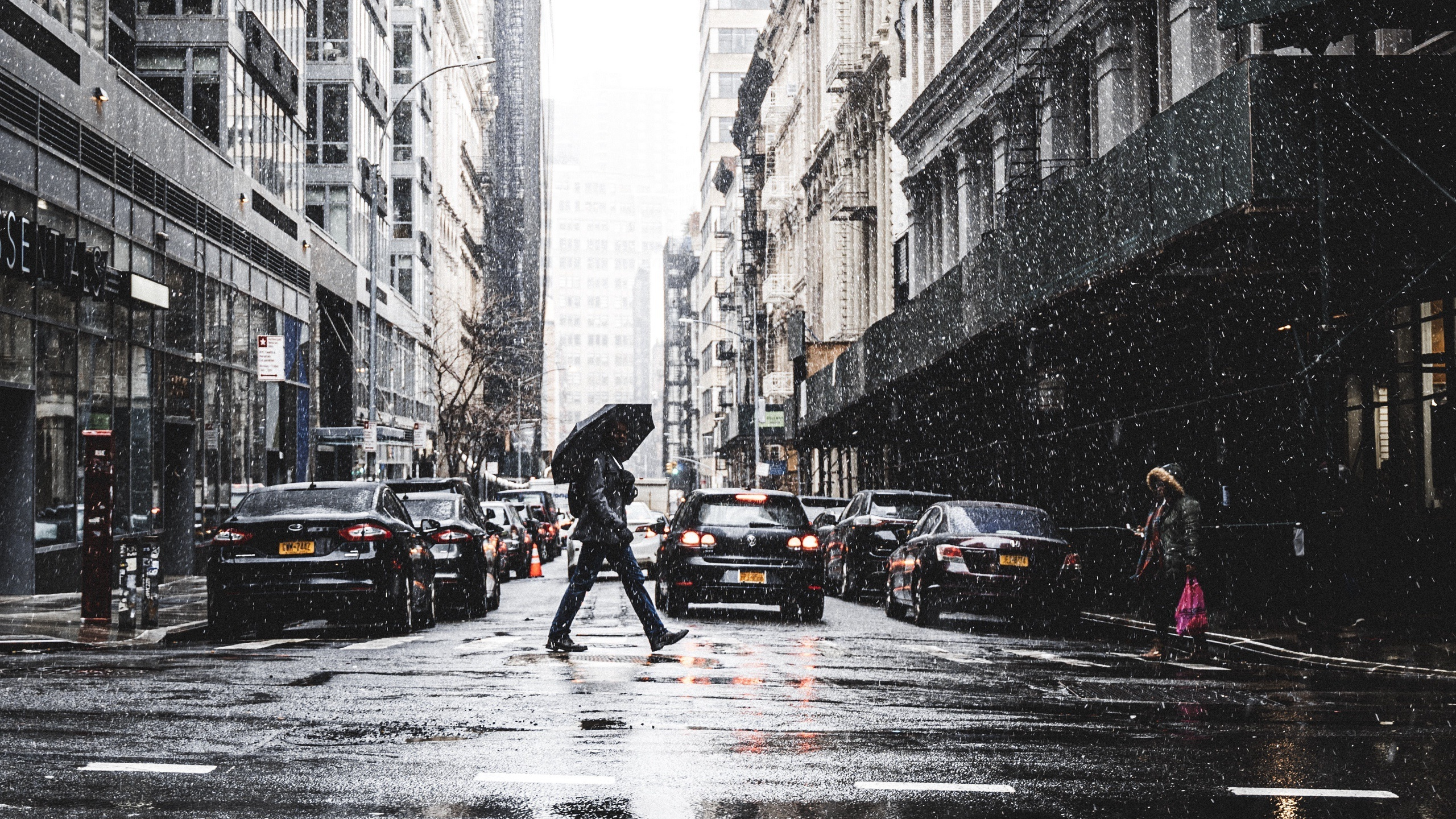 new york, morning, manhattan, winter, rain, buildings