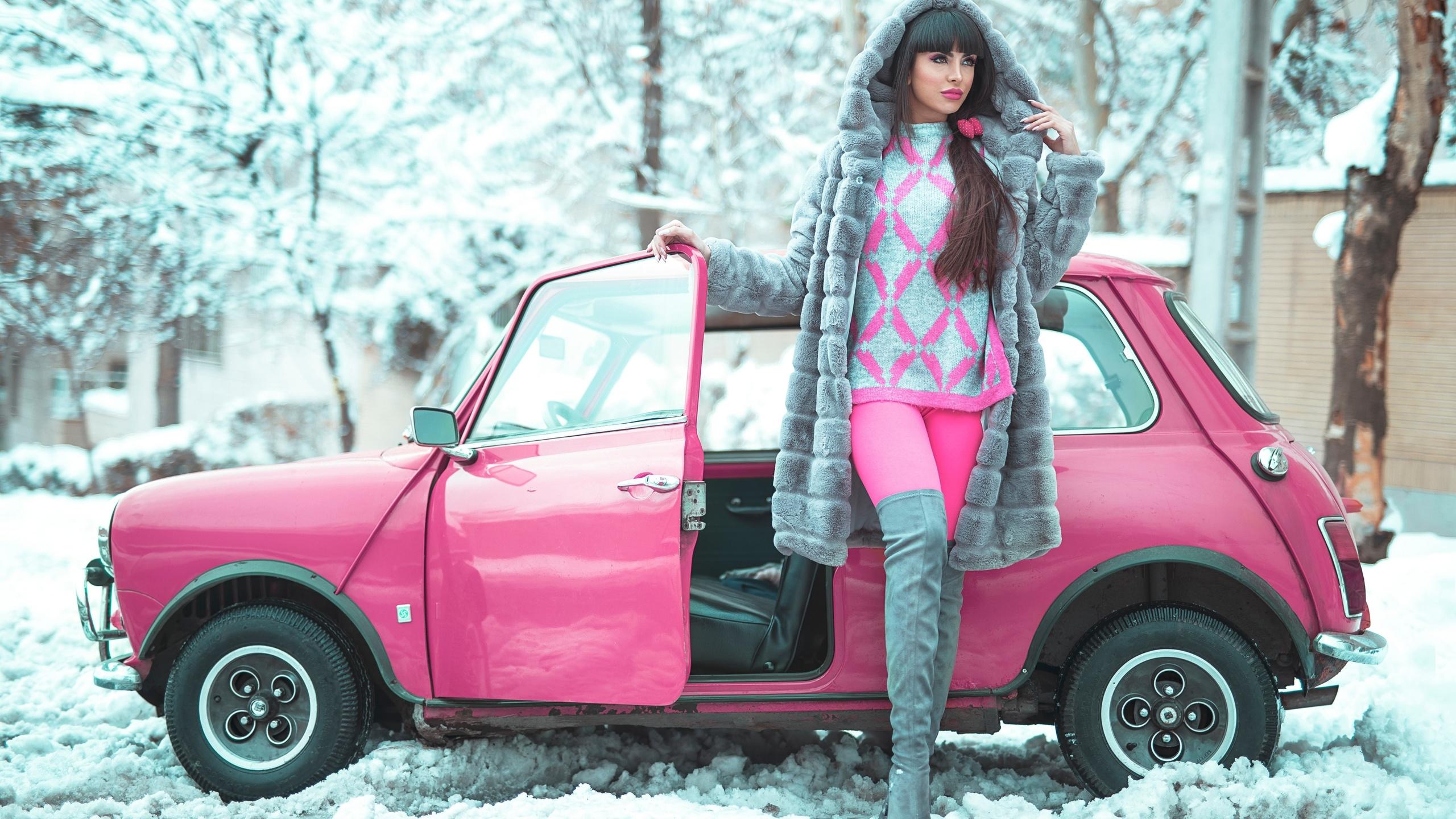 mini, pink, девушка, зима, шуба