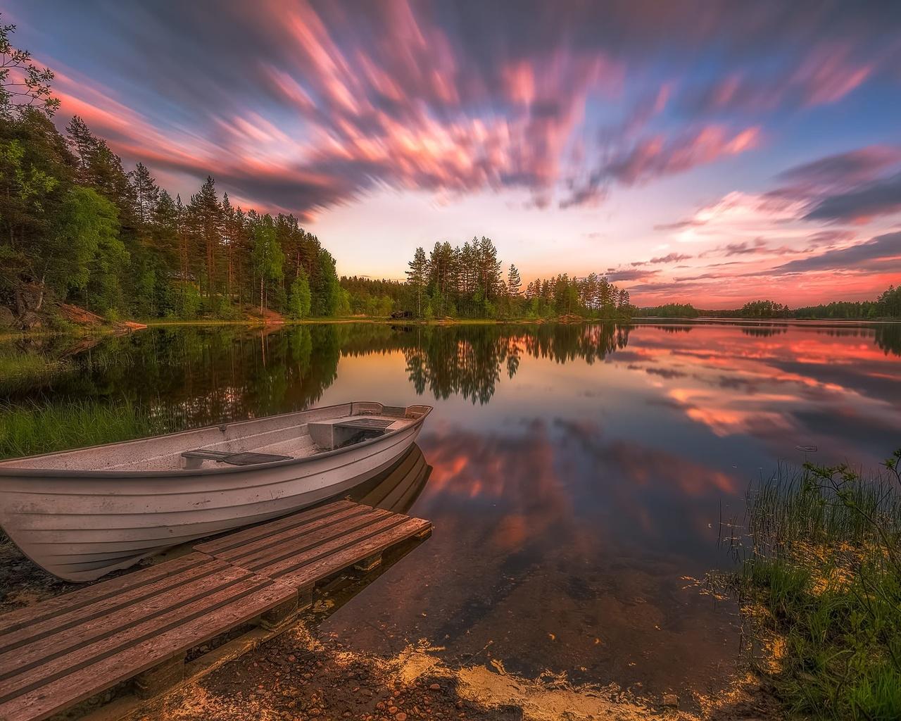 пейзаж, закат, природа, озеро, лодка, норвегия, леса, берега, norway, мосток, ringerike, ole henrik skjelstad