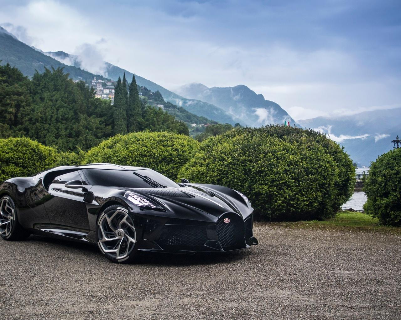 bugatti, суперкар, la voiture noire, горы
